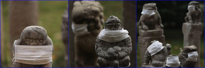 800 tượng sư tử đá ở Trung Quốc đeo khẩu trang vì ô nhiễm