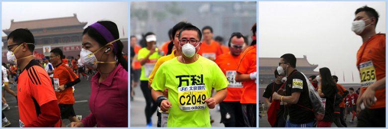 Đeo khẩu trang chạy bộ vì ô nhiễm