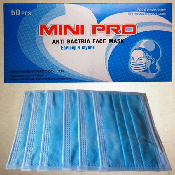 Khẩu trang Mini-Pro 4 lớp kháng khuẩn tiệt trùng màu xanh y tế