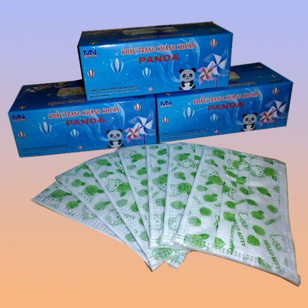 Khẩu trang Mini-Pro Panda hoa văn Kitti xanh lá